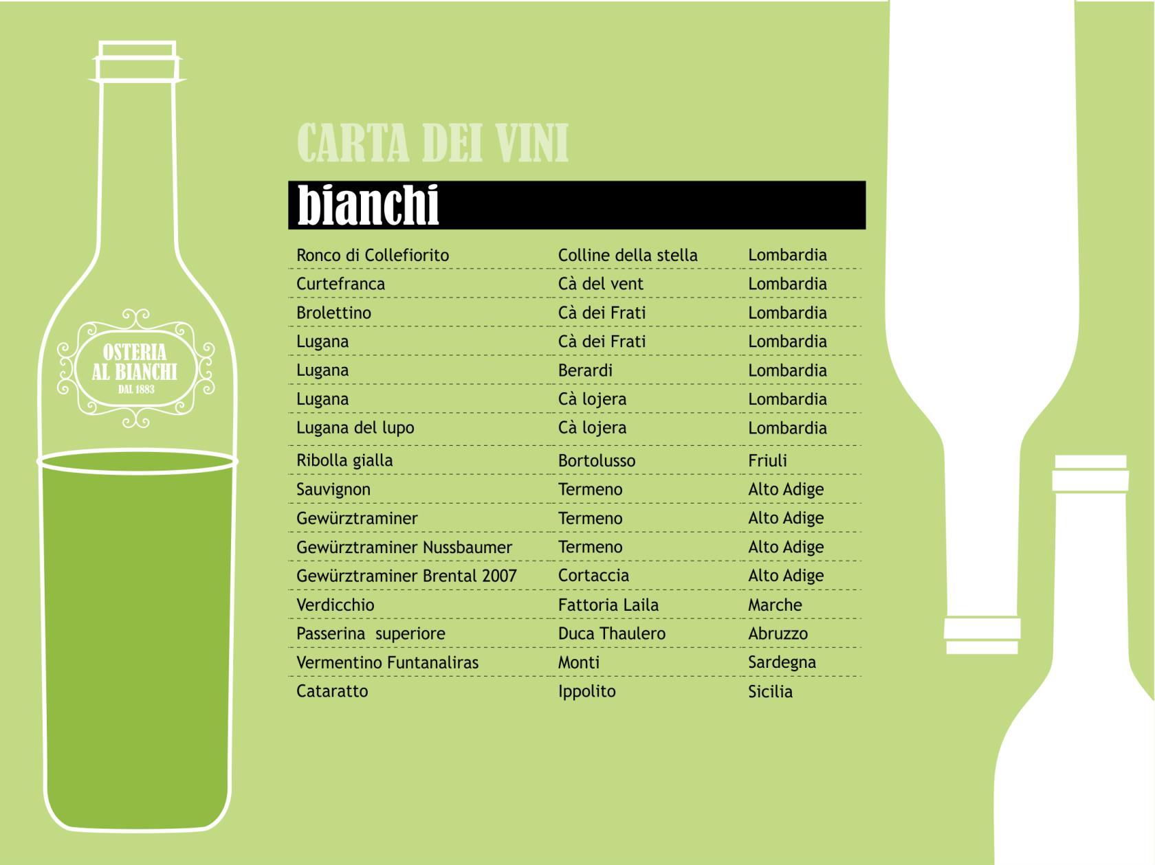 carta dei vini bianchi - piatti tipici bresciani - aperitivi - brescia centro